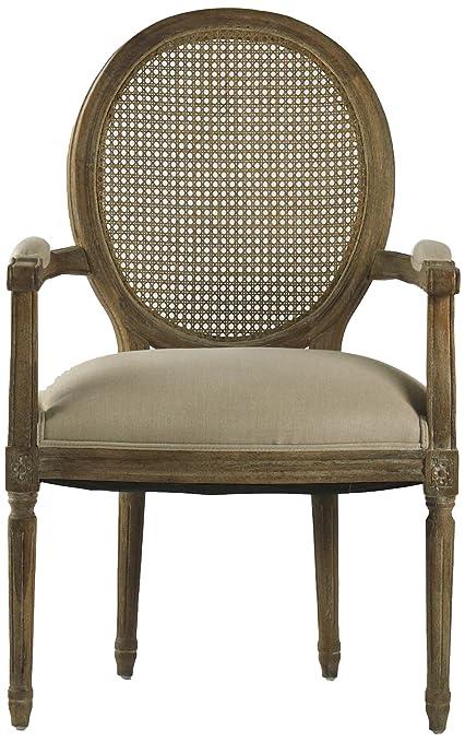 Zentique Medallion Arm Chair With Cane Back, Limed Grey/Oak/Natural Linen
