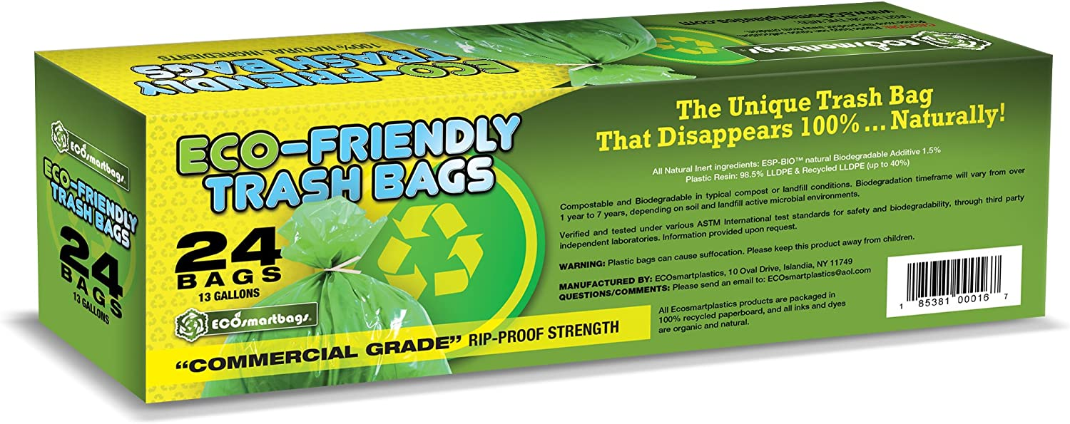 Eco smartbags are a biodegradable trash bag that's made out of additive treated plastic so that it will degrade anywhere