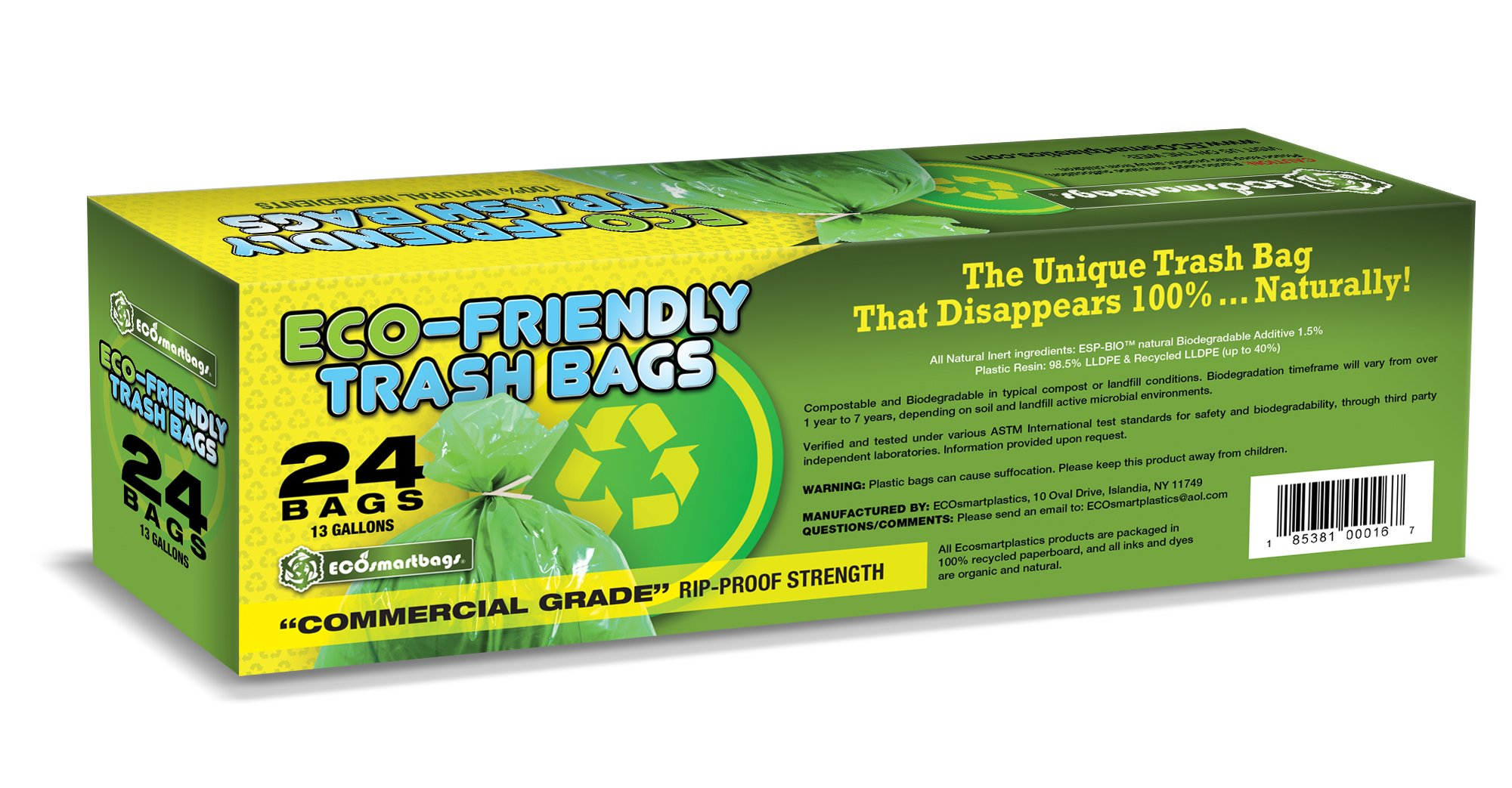Eco-Smartbags Biodegradable Trash Bags, 13-Gallon, 24-Count Boxes (Pack of 6) by Eco-Smartbags