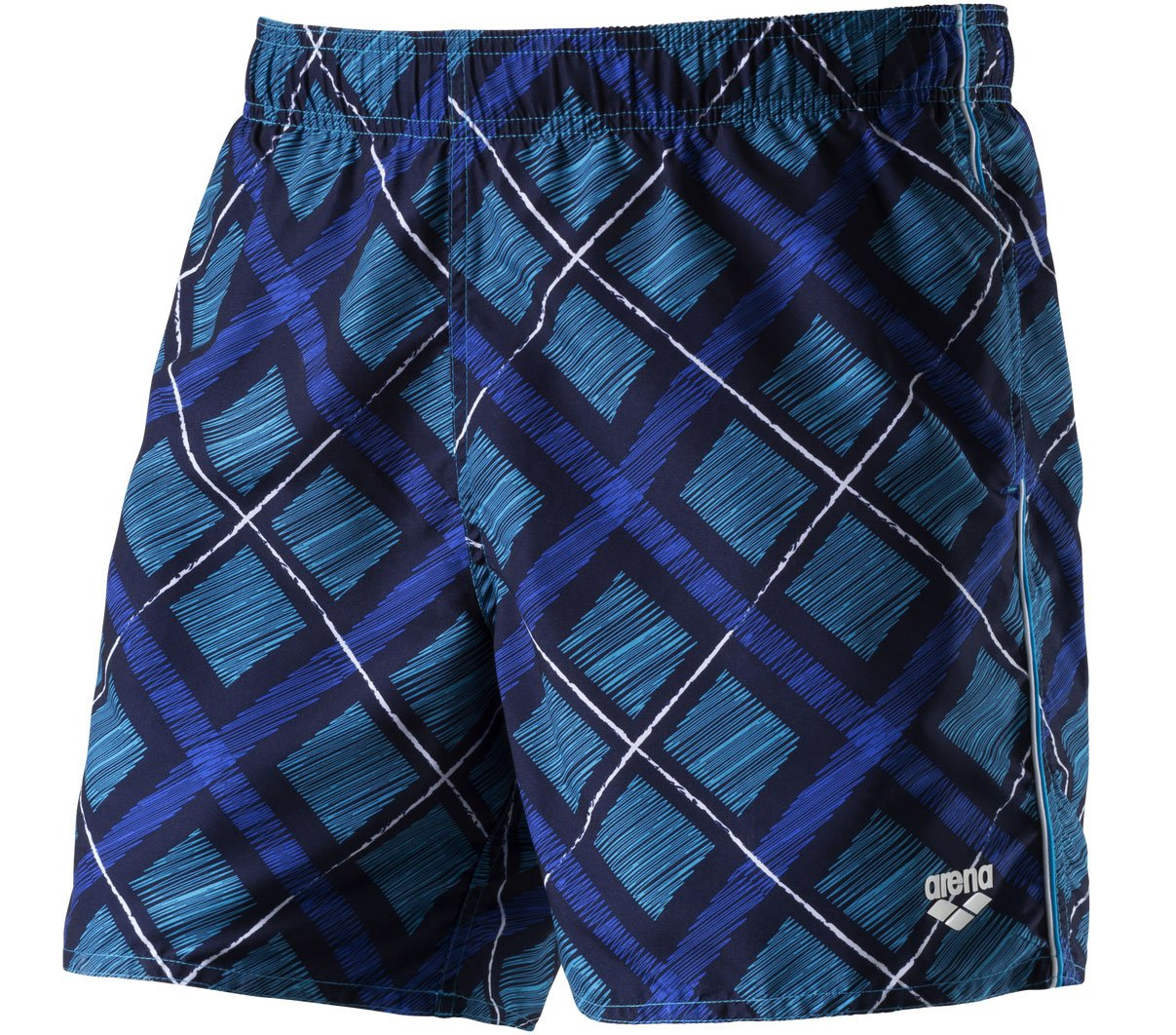 Printed Check Boxer?-?Navy/Turquoise