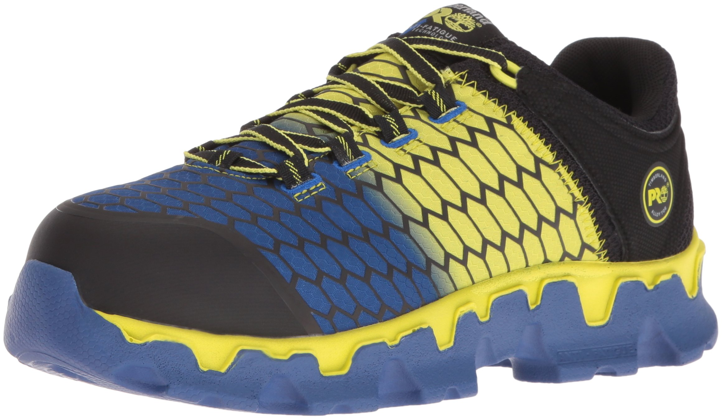 Timberland PRO Men's Powertrain Sport Alloy Toe SD+ Industrial and Construction Shoe, Black Synthetic/Yellow/Blue, 13 W US
