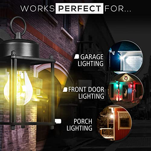 Dysmio Lighting Wall Lanterns Pewter Finish, Home Decoration Collection Outdoor Lighting, Modern Outdoor Lights with Elegant Design, Light Wall Mount with Water Glass Shade- Pack of 2