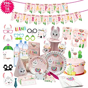 Llama Birthday Party Supplies Llama Decor 296 PCs I 22 Items Llama Party Decorations I Cake Topper, Holder, Goodie Bag, Stickers, Plates, Cups, Napkins, Confetti, Signs and Many More I Complete Set