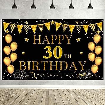 30 Geburtstag Party Dekoration Banner Happy Birthday Hintergrund Extra Großes Zahlen 30 Jahre Geburtstagsdeko Gold Schwarz Alles Gute Zum Geburtstag Banner Geburtstagsfeier Geburtstagparty Jahrestag Küche Haushalt