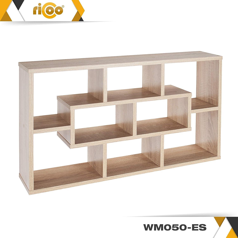Ricoo Wm050 Es Wandregal 85x48x16 Cm Holz Eiche Sonoma Braun