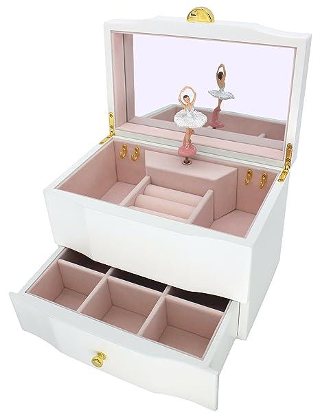 1c0bb5c461e7 Attii bailarina joyería caja de madera caja de música para las niñas con  cajón y espejo