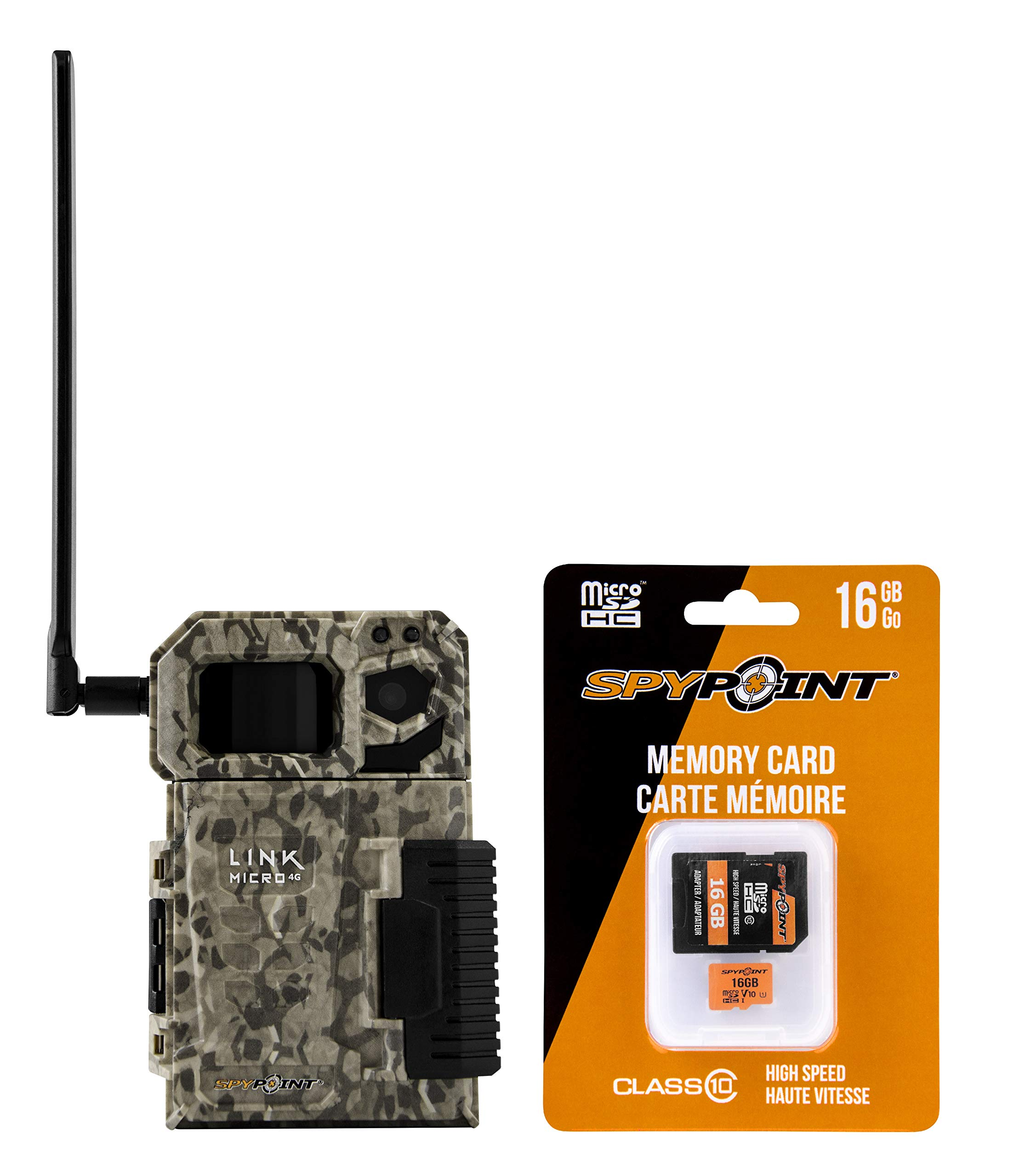 SPYPOINT LINK MICRO with 16GB MicroSD (Smallest on The Market!) Wireless/Cell Trail Camera, 4 Power LEDs, Fast 4G Photo Transmission w/Preactivated SIM, Fully Configurable via App (Nationwide Version) by SPYPOINT