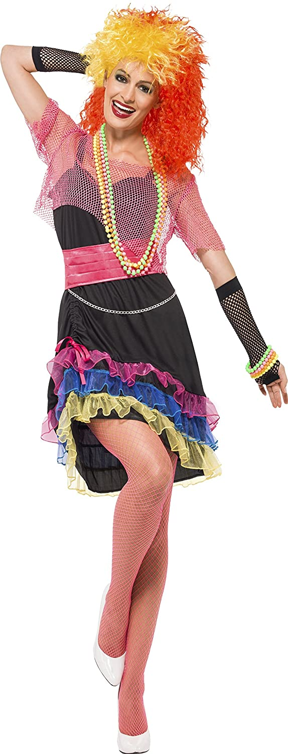 80's Fun Girl Colourful Costume with Top and Belt - Small, Medium or Large