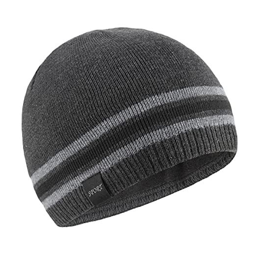 28f83ae27b6 OMECHY Mens Winter Beanie Hat Warm Cuff Toboggan Knit Ski Skull Cap Grey