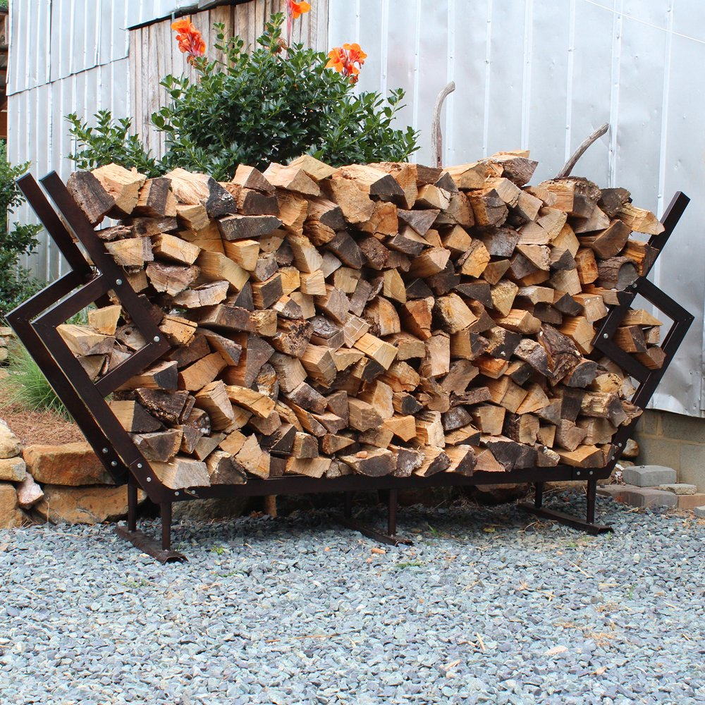 amazoncom fireking 65 by 545 inch premium firewood rack with cover medium bronze garden outdoor - Firewood Rack