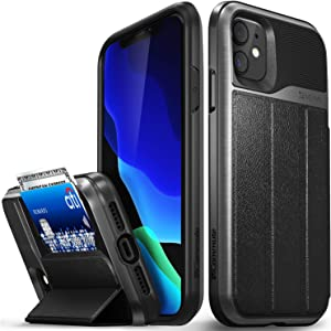 """Vena vCommute Wallet Case Compatible with Apple iPhone 11 (6.1""""-inch), (Military Grade Drop Protection) Flip Leather Cover Card Slot Holder with Kickstand - Space Gray"""