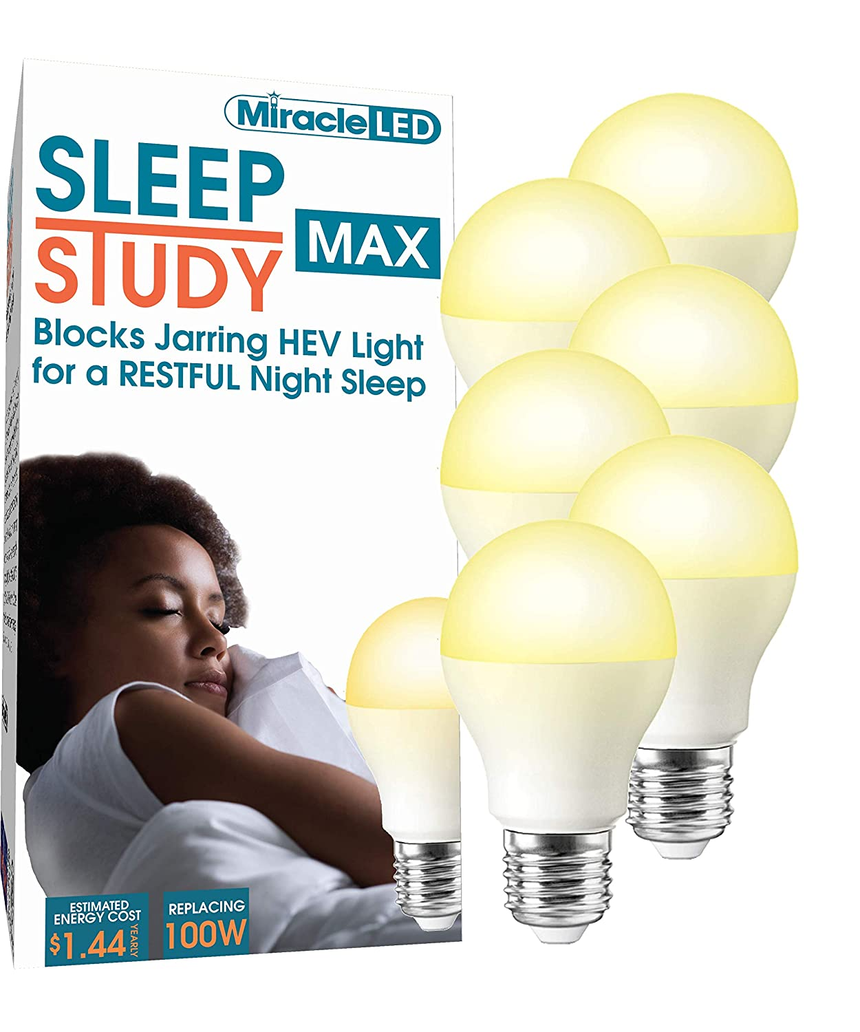MiracleLED 602016 Light Bulb Sleep Study MAX Amber Glow 2-Pack