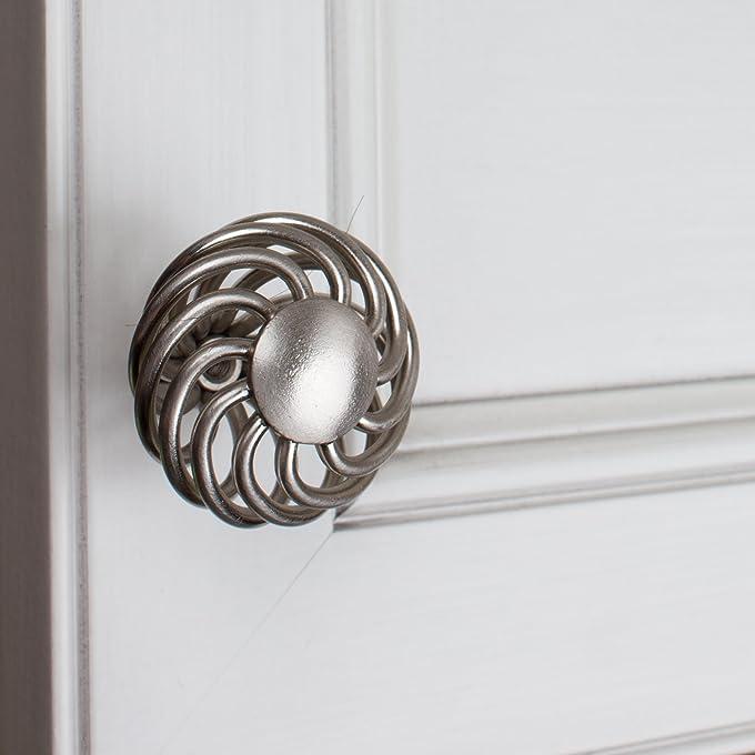 gliderite hardware 3072sn10 inch diameter satin nickel round birdcage cabinet knob 10 pack amazoncom