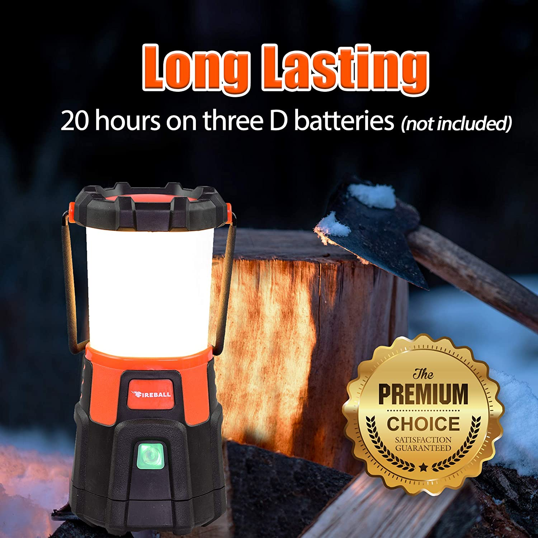 Blazin Fireball | Dimmable Lantern Battery Powered | 1000 Lumen LED Lantern | Emergency, Storm, Camping Torch | Battery Operated Lights - -
