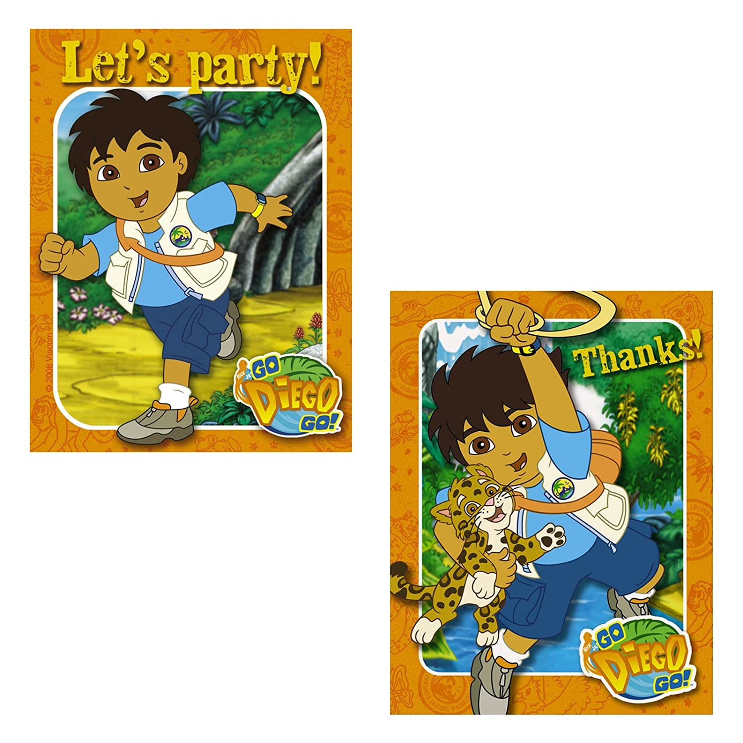 Go Diego Go Invitations and Thank You Combo 8 each