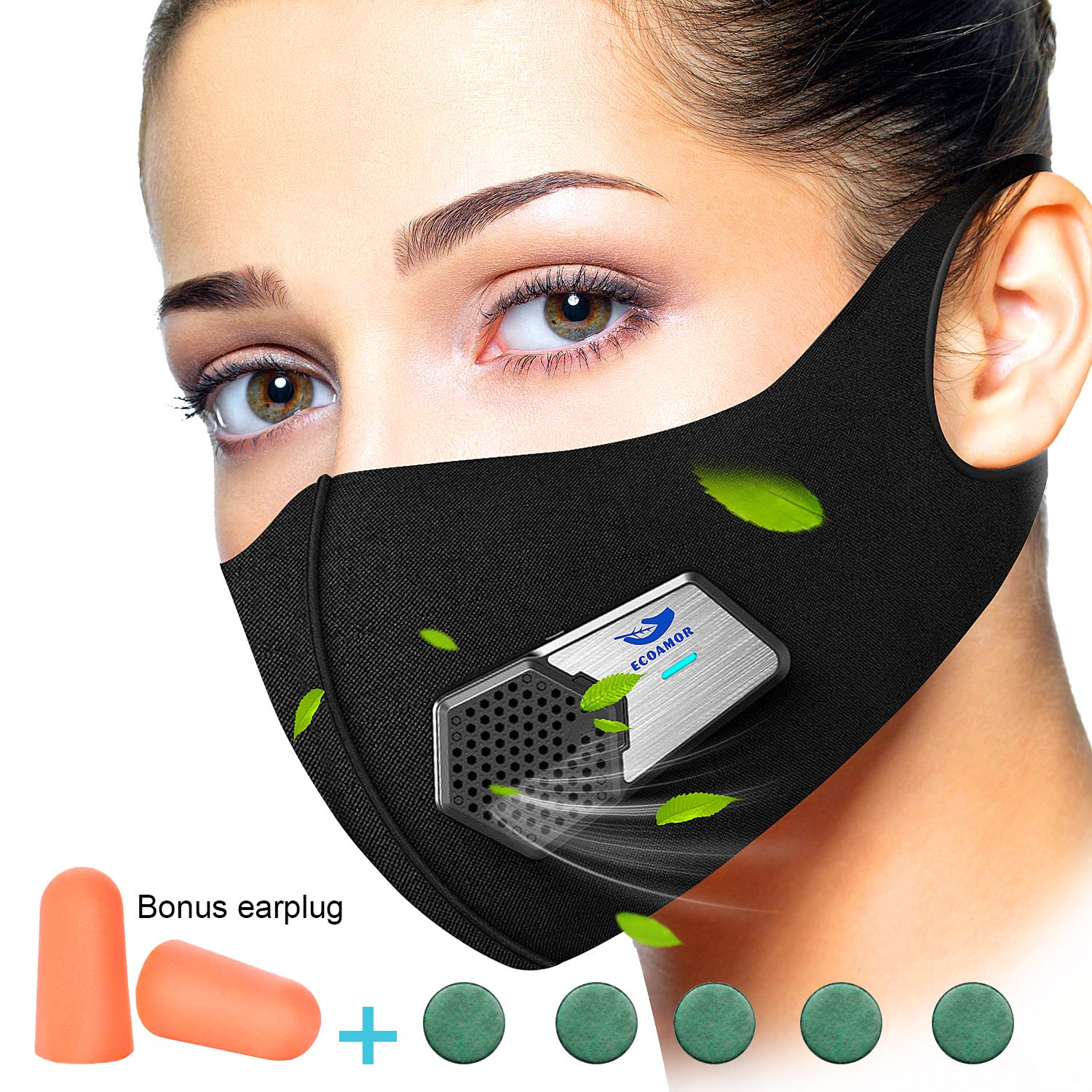 Anti Dust Electric Mask Reusable n95 Respirator for Face Air Purifying, ECOAMOR Washable Safety Masks for Outdoor Sports,Sanding,Gardening,TravelResist Dust,Germs,Allergies,PM2.5,Best Respirator Mask by ECOAMOR (Image #1)