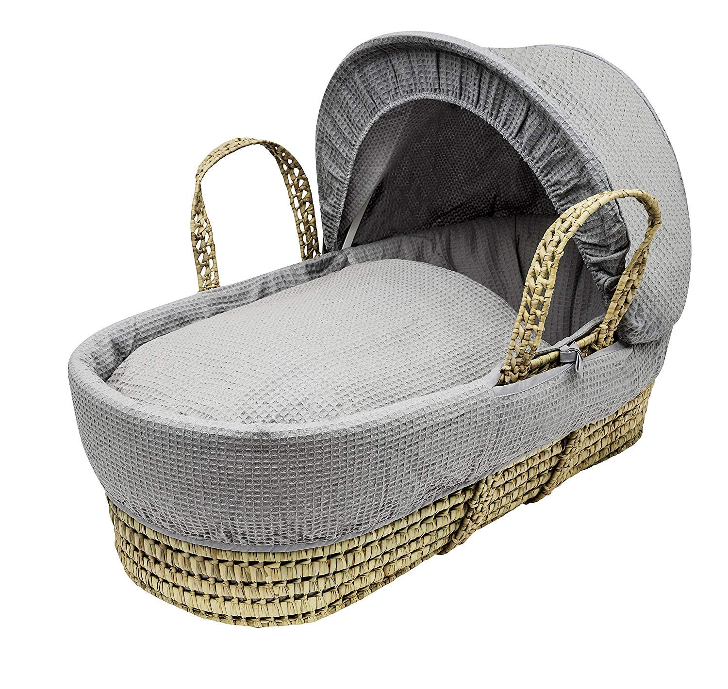 Baby REX New Grey Waffle Moses Basket Covers 4 Piece Bedding Set Only Inc Quilt,Skirt,Hood & Sheet
