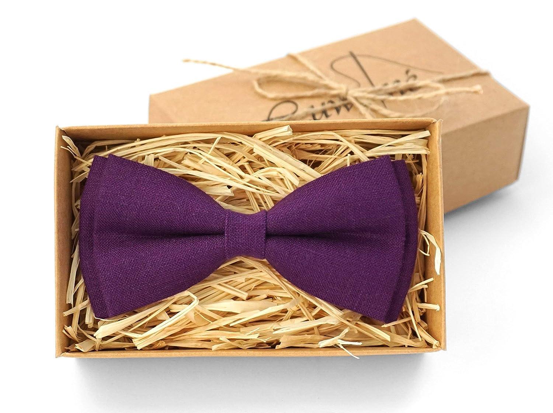 purple bow tie for men groomsmen necktie linen necktie purple necktie Purple linen bow tie wedding necktie