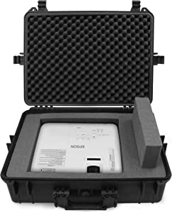 CASEMATIX Waterproof Projector Case Hard Shell Projector Bag Compatible with Epson Home Cinema 2100 & 2150, Select PowerLite Projectors with Protective Foam Interior, Padlock Rings and Folding Handle