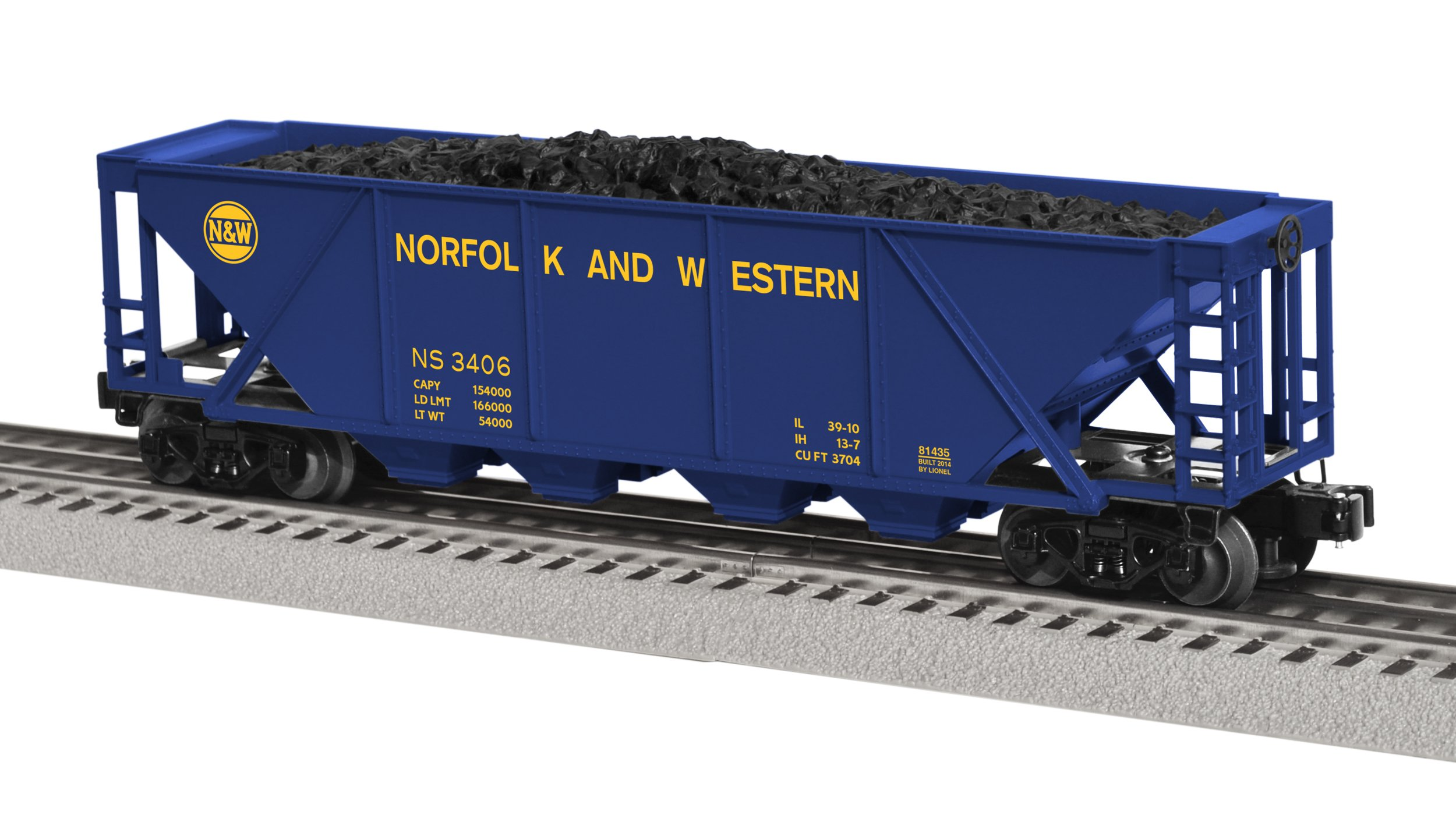 Lionel Trains Norfolk Southern Heritage N&W 4-Bay Hopper Car With Coal Load 2