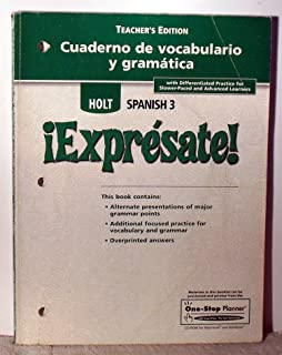 Holt spanish expresate level 3 teachers edition sylvia exprsate cuaderno de vocabulario y gramatica teachers edition level 3 fandeluxe