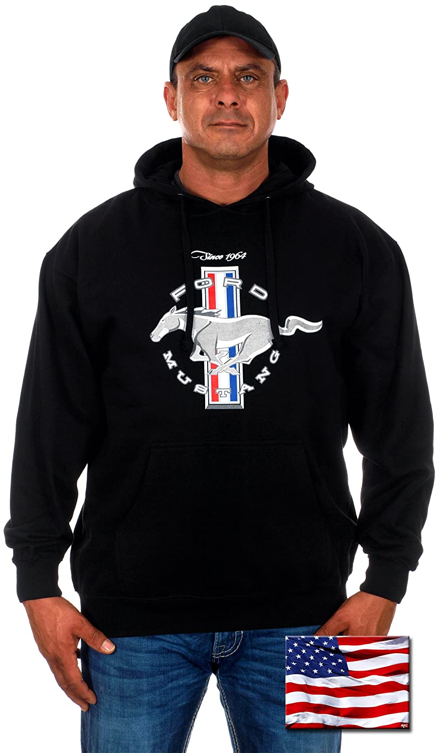 Mens Ford Mustang Pullover Hoodie MUS9S3CLG2