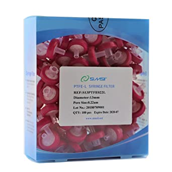 Pack of 100 Pore Size 0.45 um Simsii Sterile Syringe Filters Diameter 13 mm Hydrophilic PVDF