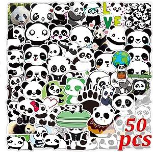 Panda Stickers 50pcs Panda Bear Stickers Panda Merch Panda Merchandise Computer Laptop Stickers for Kids(50pcs Panda)