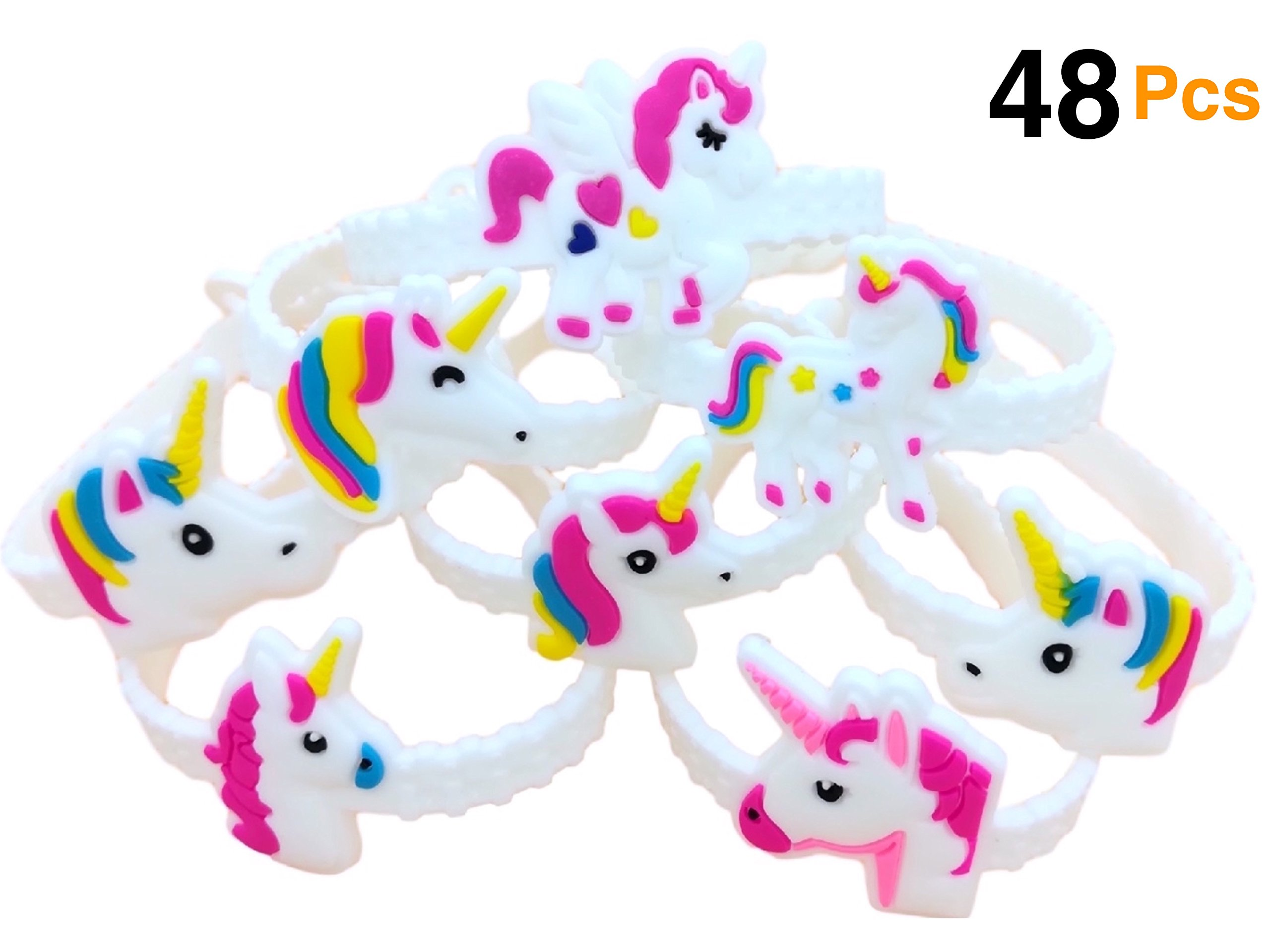 OHill Pack of 48 Unicorn Bracelets Wristbands for Birthday Party Supplies Favors, Novelty Toys and School Classroom Rewards