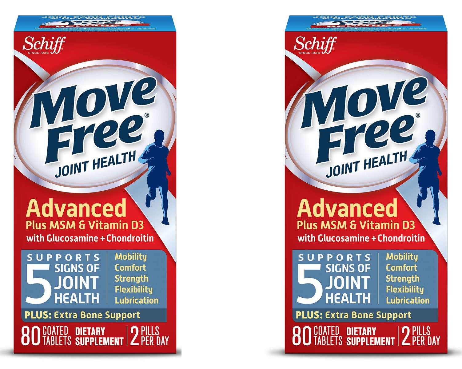 Move Free Advanced Plus MSM and Vitamin D3, 80 tablets - Joint Health Supplement with Glucosamine and Chondroitin , 80 Count, 2 Pack by Move Free