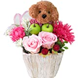 花 誕生日 プレゼント 女性 ギフト プリザーブドフラワー バラ 誕生日プレゼント女性 トイプードル ブラウン のフラワーアレンジメ ント