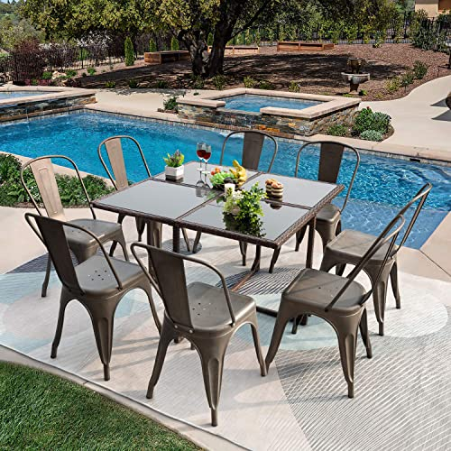 GUNJI Patio Dining Set 9 Pieces Outdoor Dining Table and Stackable Metal Dining Chairs Patio Dining Table Set