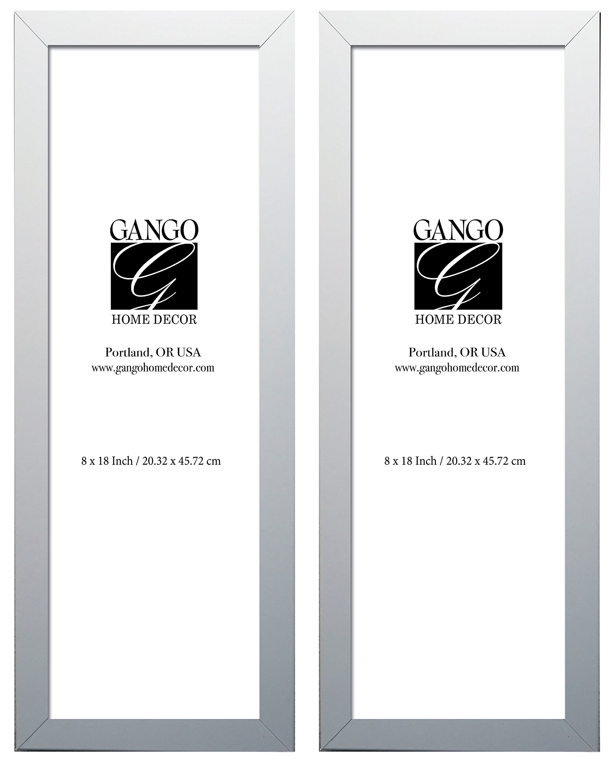 Gango Home Décor Two 8x18in White Frame Rectangular Set; Ready to Hang!