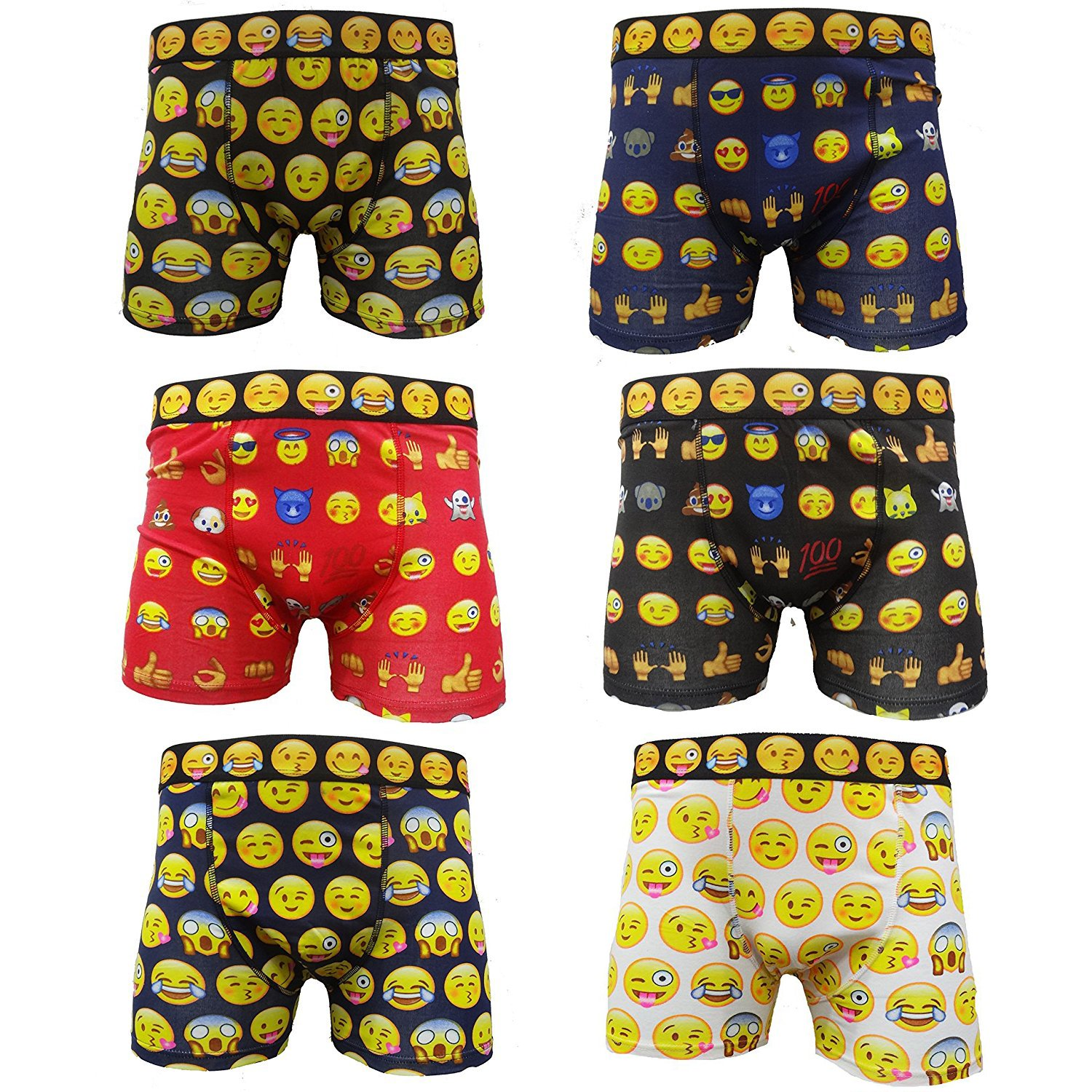 3 PAIRS MENS BOXER SHORTS COTTON BLACK WHITE RED BLACK STRIPED EMOJI  DESIGN new