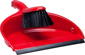 Plastic Dustpan and Brush Set Red 2 Piece