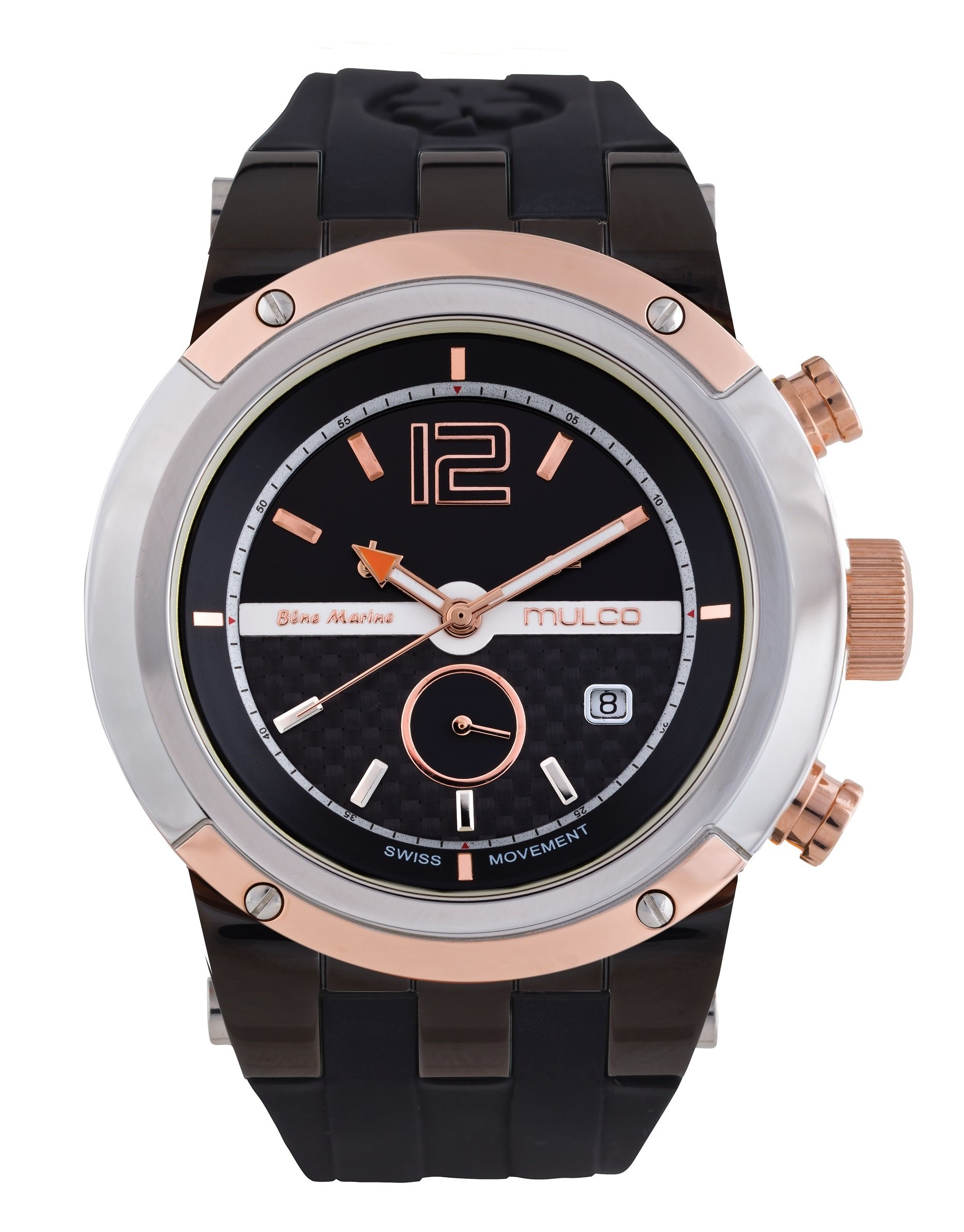 Mulco MW5-1621-105 Swiss Chronograph Black Dial Orange Case Rose Gold Bezel Watch