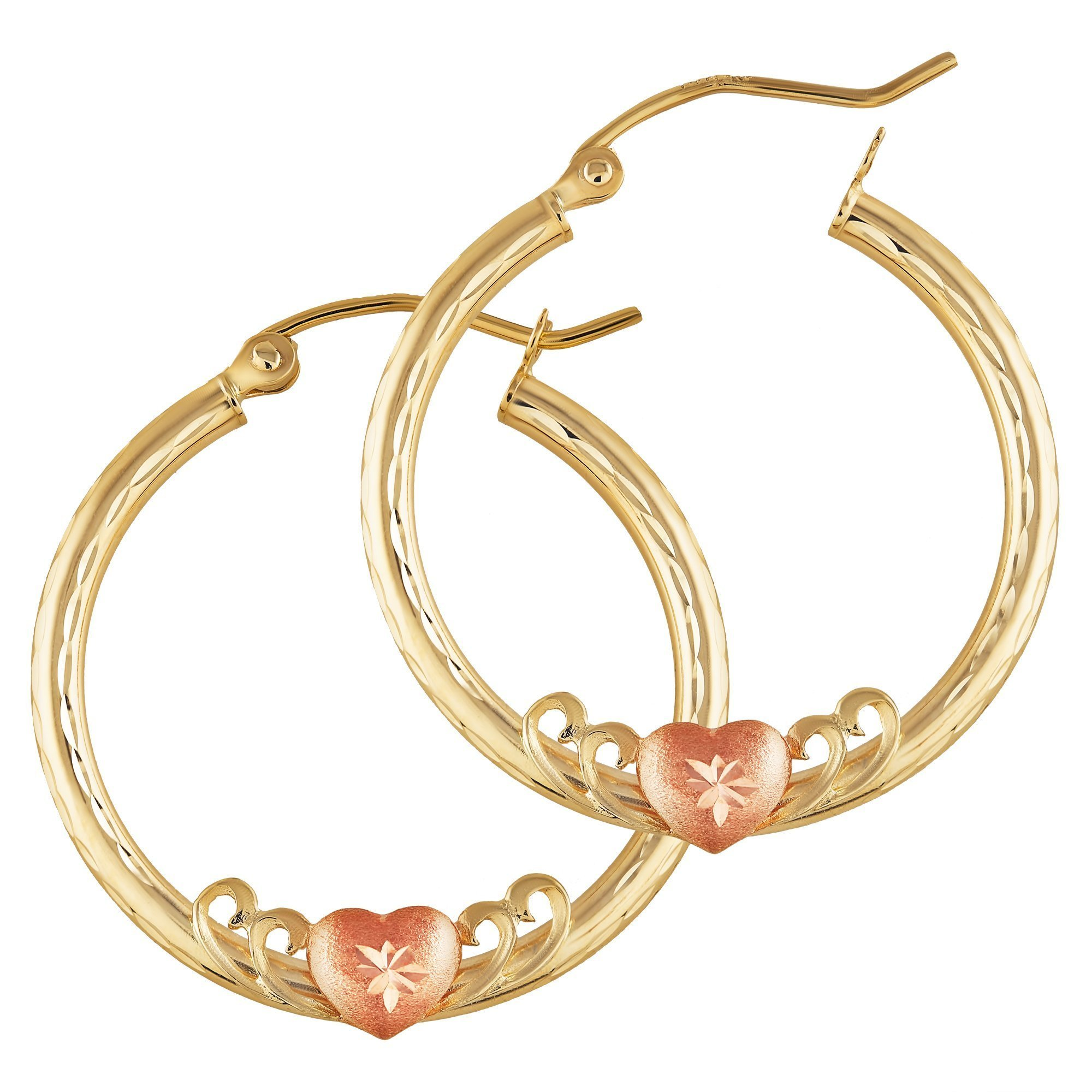 Balluccitoosi Two Tone Heart Earrings - 14k Gold Hoop Earring for Women and Girls - Unique Jewelry for Everyday