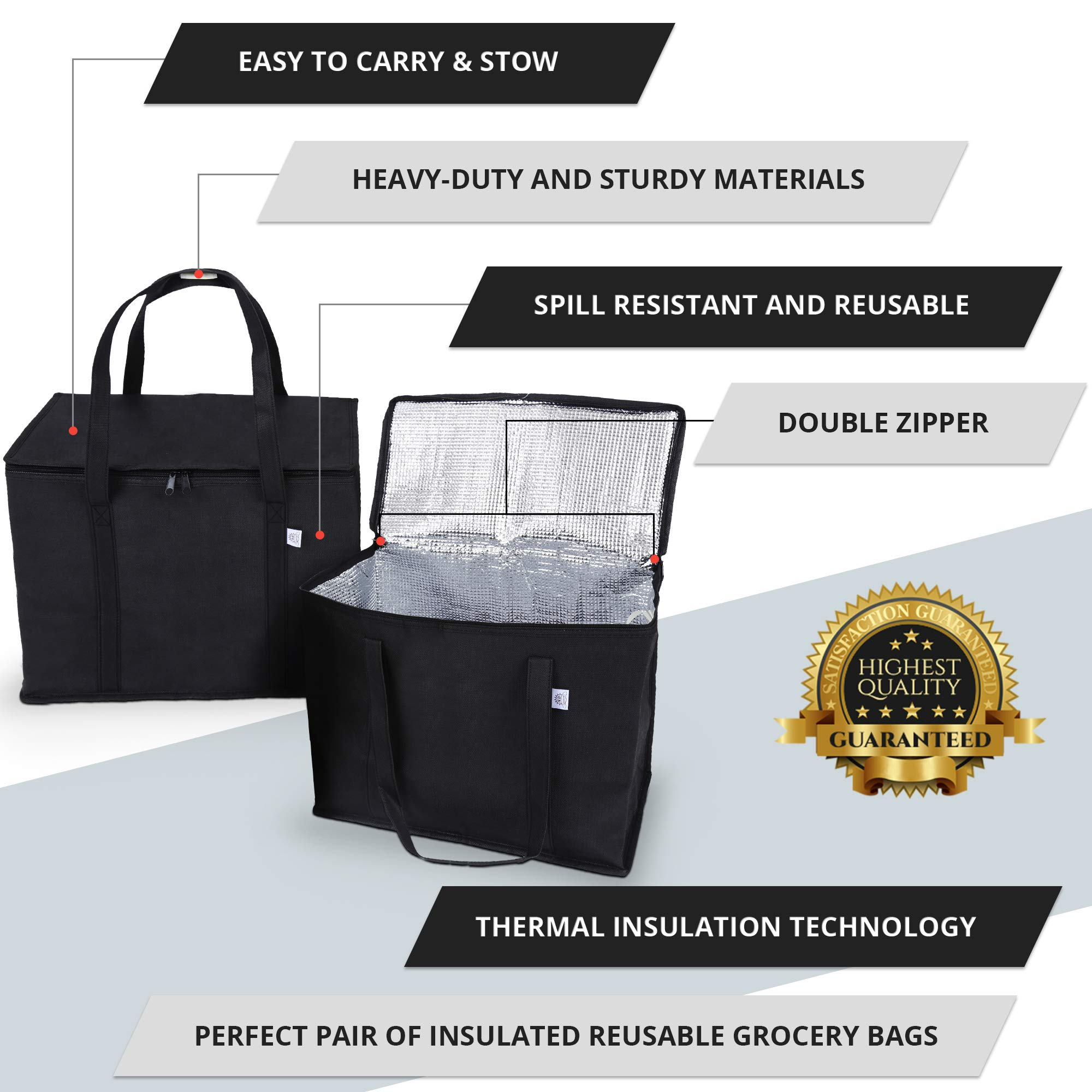 2 Pack Reusable Grocery Tote Bag by Ks Country - Collapsible and Stands Upright with Durable Zippers and Large Reinforced Handles for Extra Strength - Sturdy and Insulated to Keep Foods Cold or Hot by Ks Country (Image #6)