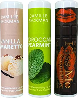 product image for Camille Beckman All Natural Cocoa Butter Lip Balm, Kiss Me Koko, Moroccan Spearmint, Vanilla Amaretto Variety Pack #2.25 oz (3 Pack)