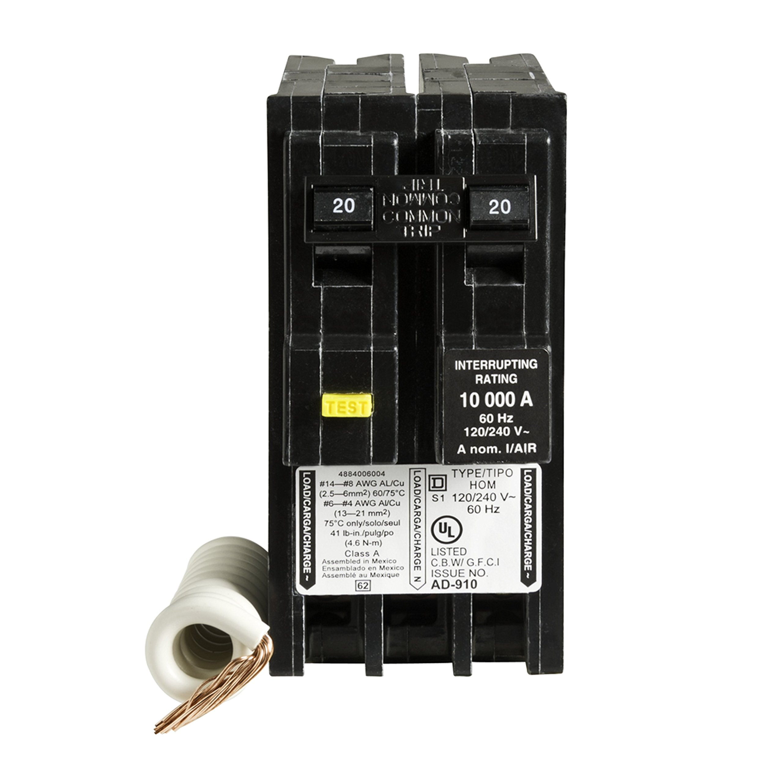 Square D by Schneider Electric HOM220GFIC Homeline 20 Amp Two-Pole GFCI Circuit Breaker, , by Square D by Schneider Electric