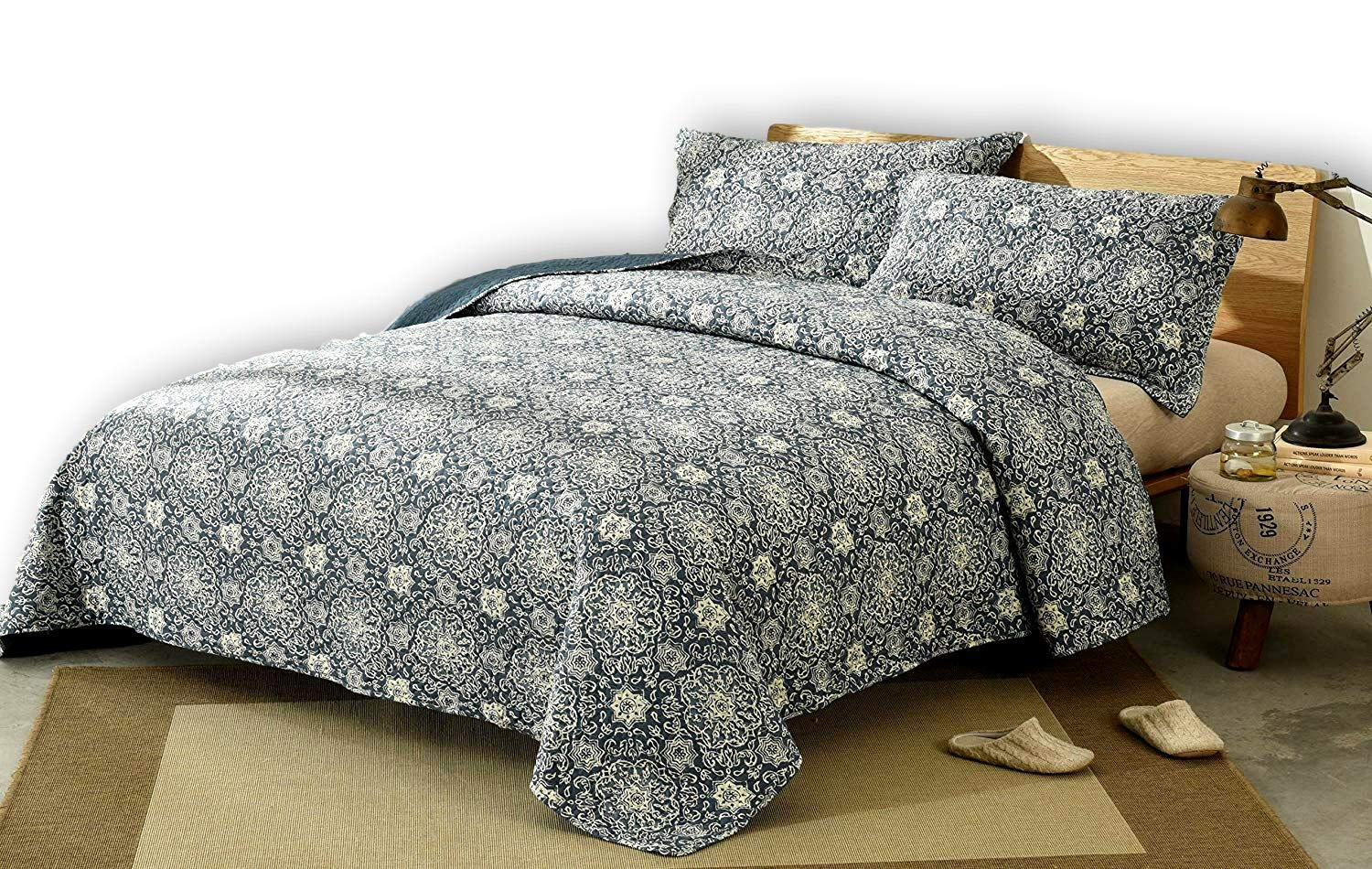 DaDa Bedding Bohemian Bedspread Set - Suzani Medallion Off White Ash Grey Navy Blue Lapis - Floral Star Quilted Coverlet - King - 3-Pieces