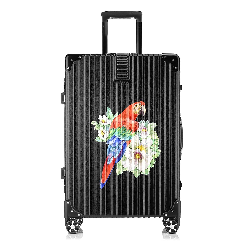 GSHCJ スーツケース 美しい動物 オウム キャリーケース 20インチ おしゃれ ブラック Tsaロック搭載 プリント ハード 超軽量 軽い 機内持込 ロックファスナー 旅行 ビジネス 出張 海外 修学旅行 丈夫 便利 レディース メンズ 学生 B07S19M1DT