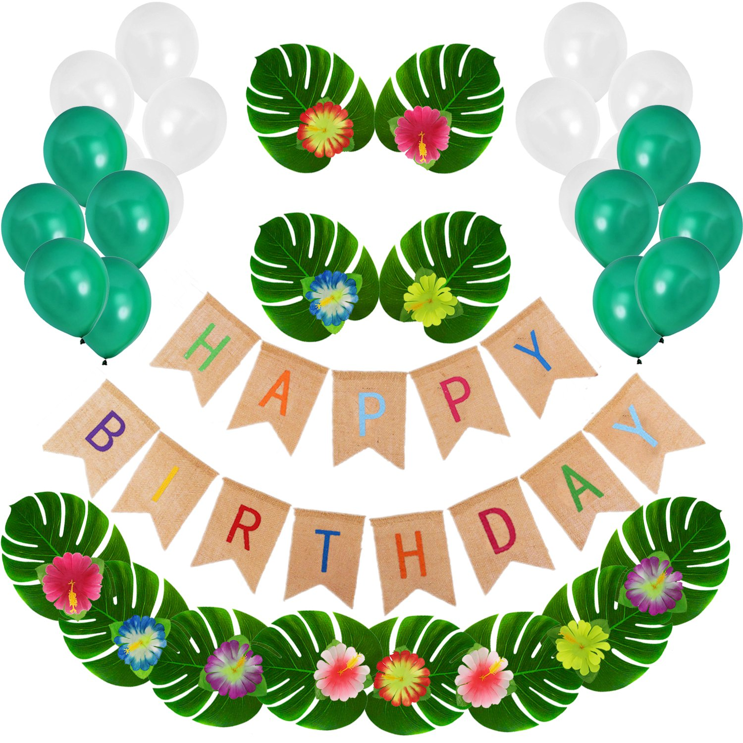 Happy Birthday Decorations - Jungle Beach Theme Birthday Party Decoration with Artificial Plant Leaves and Hibiscus Flowers, Burlap Happy Birthday Banner TD025