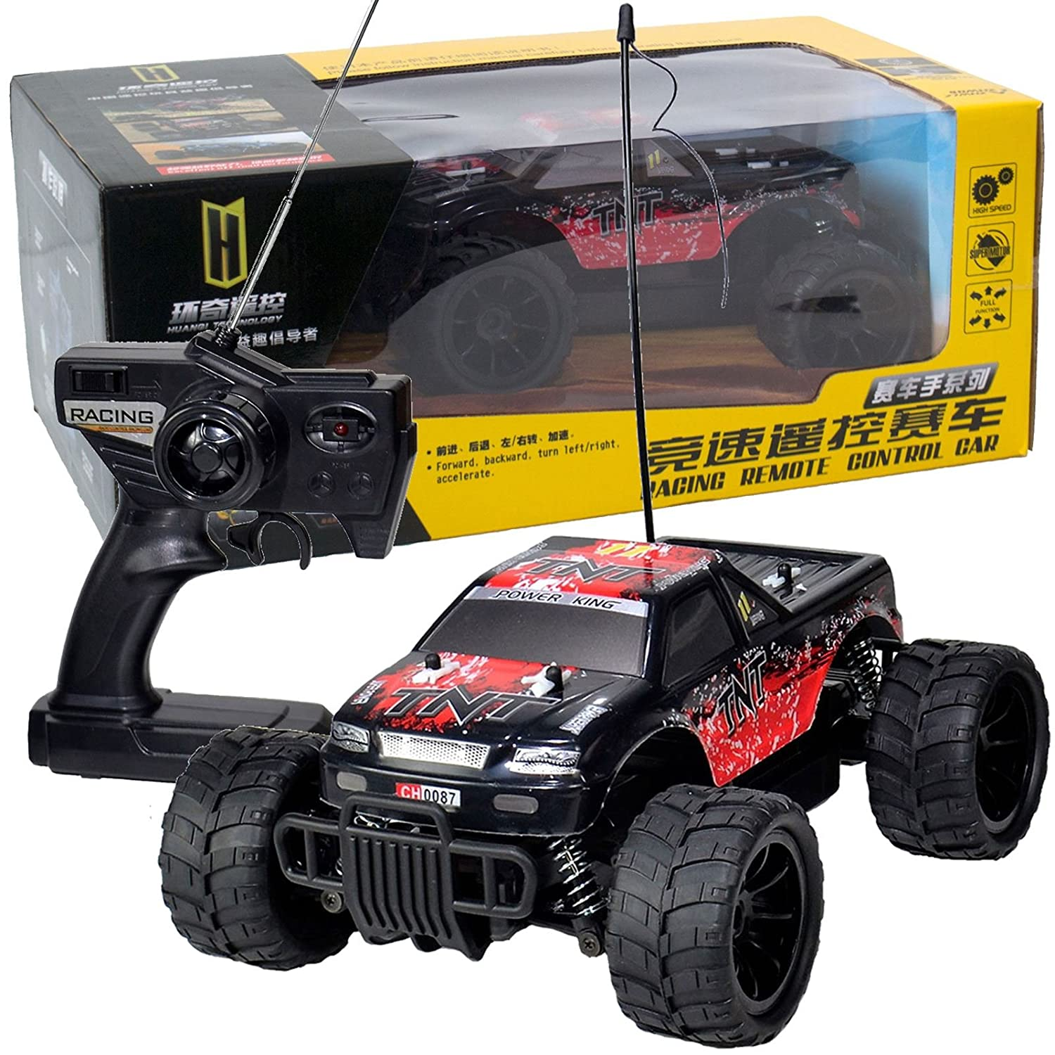 1:16 Radio Remote Control Off Road Buggy Monster Truck Car Black TNT Power King 16MPH Bopster