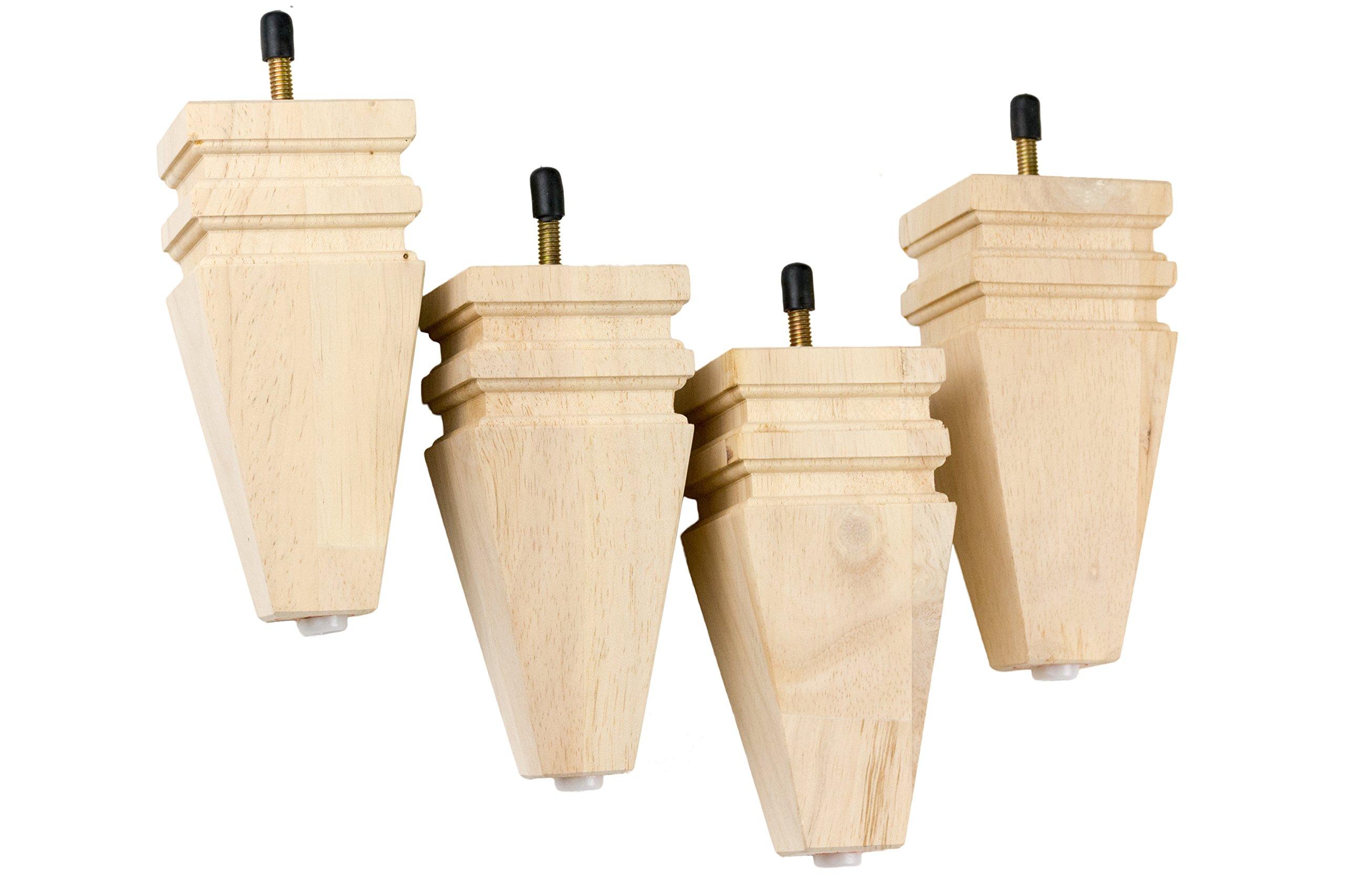 MJL Furniture Designs Medium Carved Block Wooden Replacement Sofa/Ottoman Furniture Square Threaded Leg (Set of 4), Nude, 6'' x 2-3/4'' x 1-1/8''