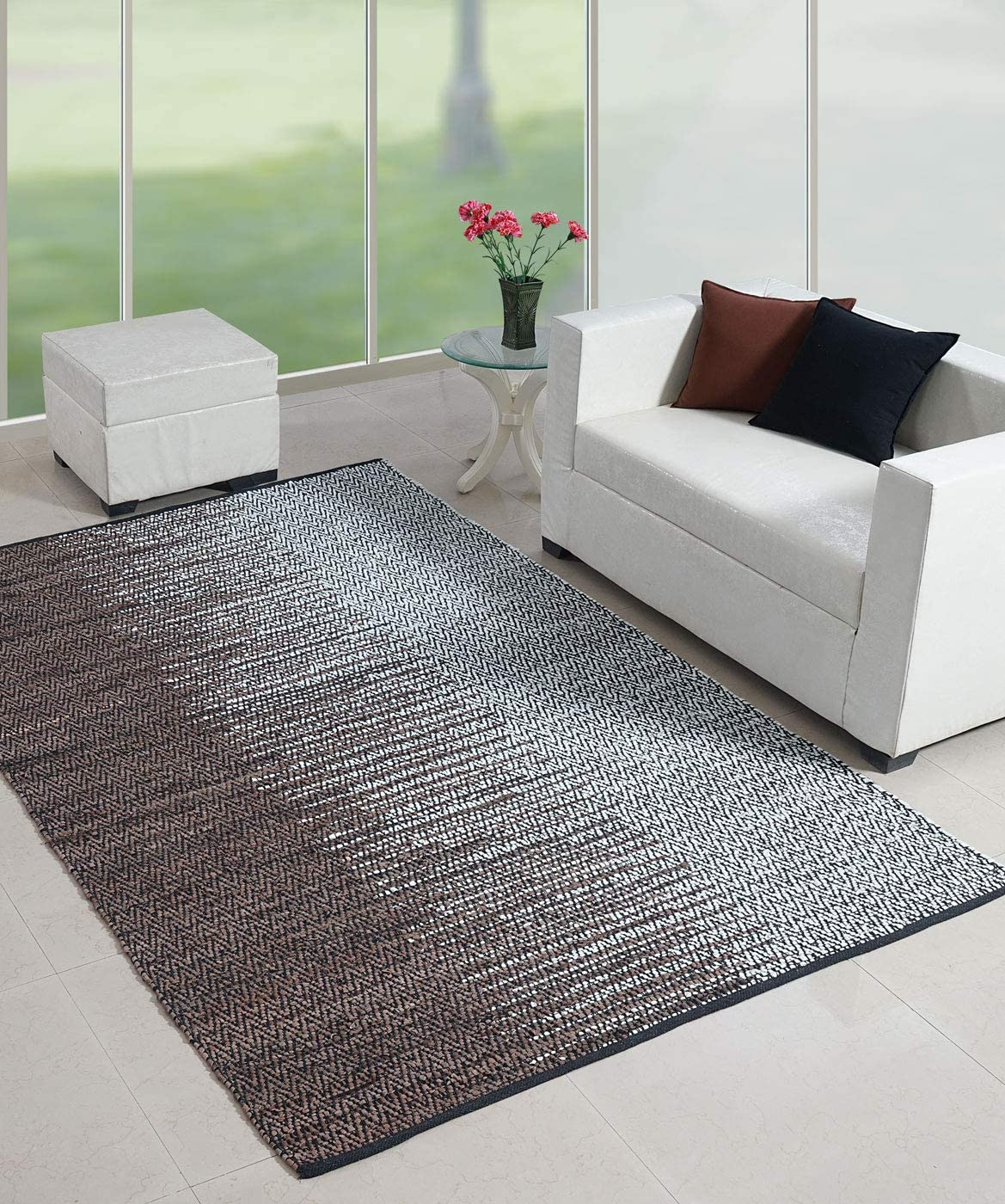 Recycled Leather Handmade Contemporary Premium Vintage Area Rug, Perfect for Bed Room, Living Room, Kitchen, Kids Room, Loft, Gaming Zone, Office, 5X8 Feets Natural Brown