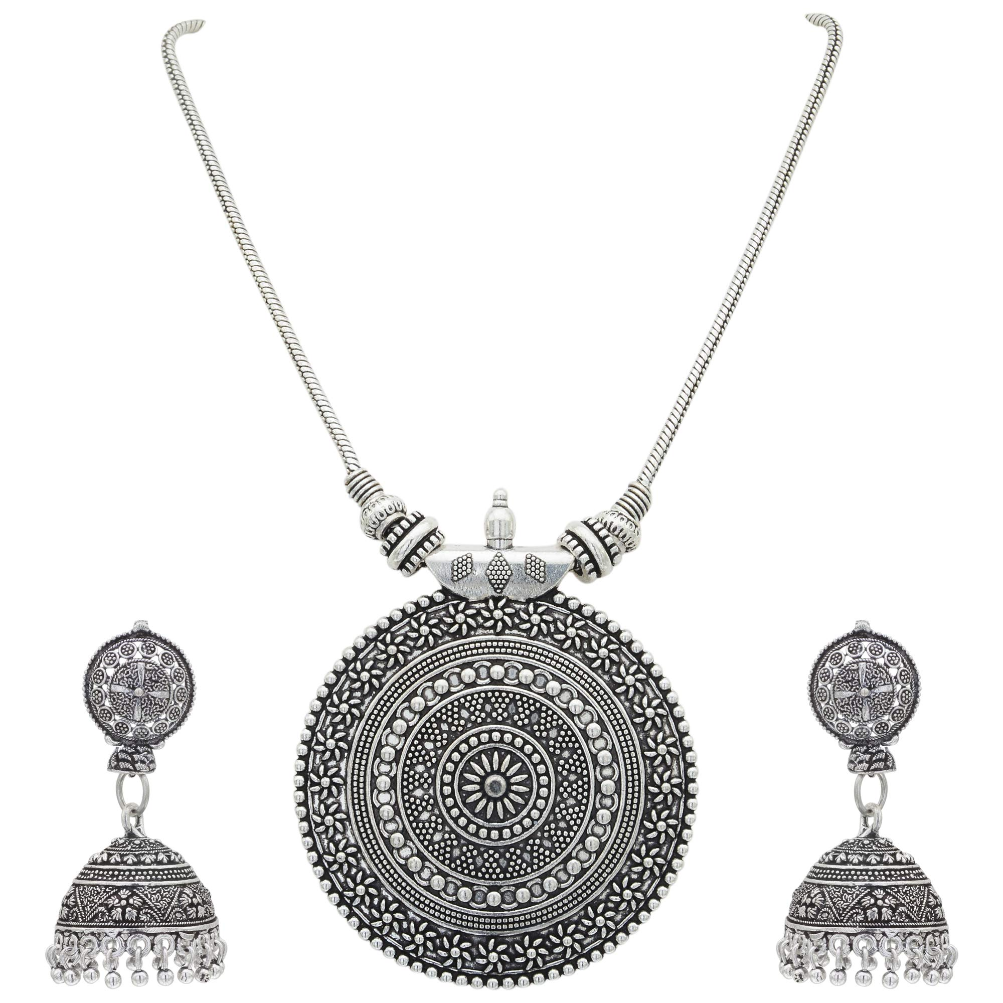 Sasitrends Oxidised German Silver Pendant Necklace with Earrings for Women and Girl's product image