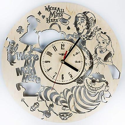 Amazon.com: Alice in Wonderland Wood Wall Clock - Original ...
