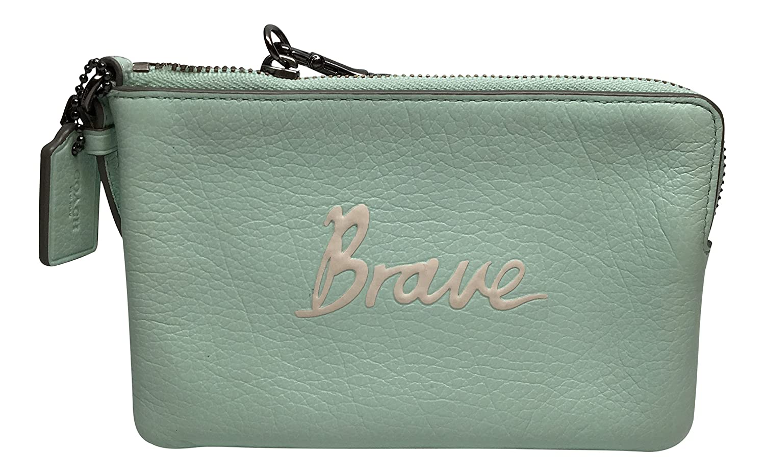 "Coach Script Wristlet ""Brave"" in Seaglass Green 65189"