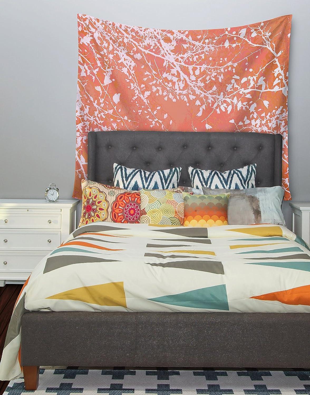 51 X 60 Kess InHouse Iris Lehnhardt Twigs Silhouette Coral Orange Wall Tapestry